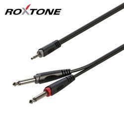 Roxtone 3,5mm Jack-2x 6,35mm Jack szerelt jelkábel 3m