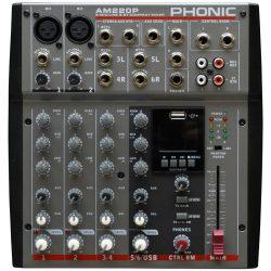 Phonic AM220P keverőpult 2 Monó/2 Sztereó csatorna, USB lejátszó