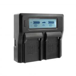 Sony BP-U sorozathoz dupla akkumulátor töltő (DC-LCD) LCD kijelzéssel