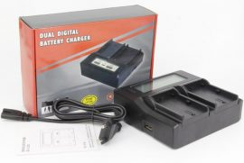 Sony NP-F sorozathoz dupla akkumulátor töltő (DC-LCD) LCD kijelzéssel